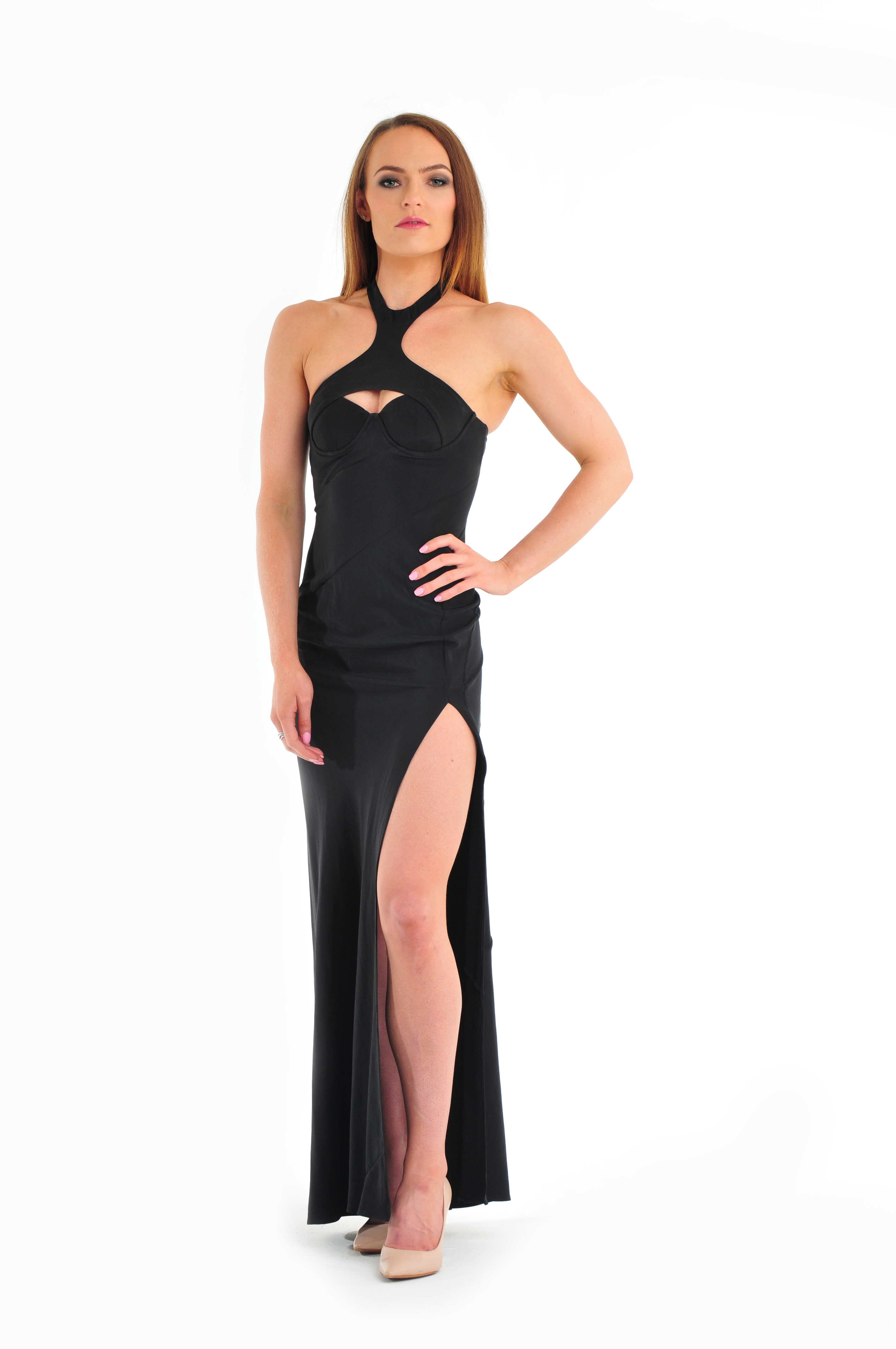 Long Silk Cut Out Gown