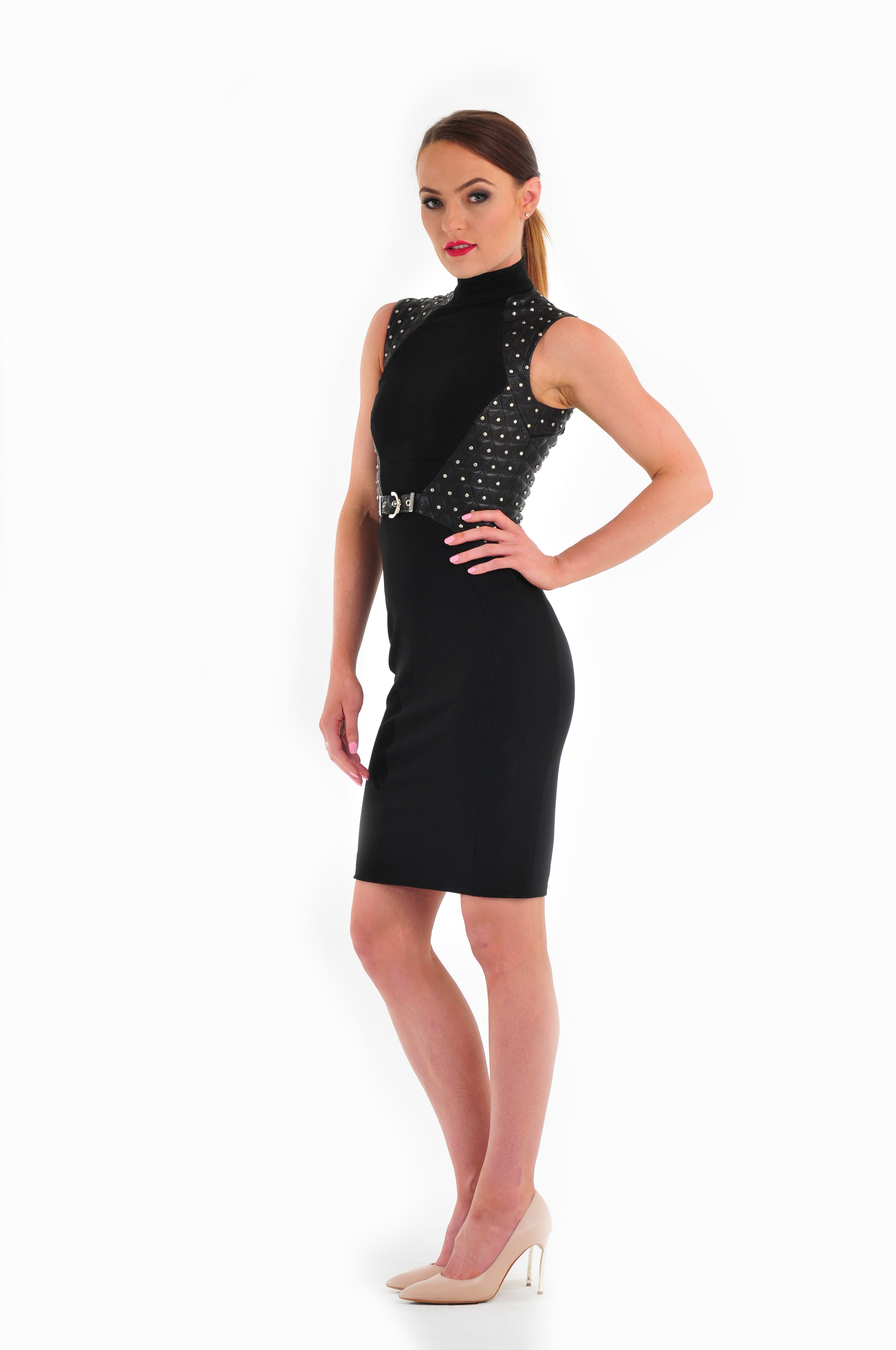 Studded Leather-panelled Stretch-crepe Dress