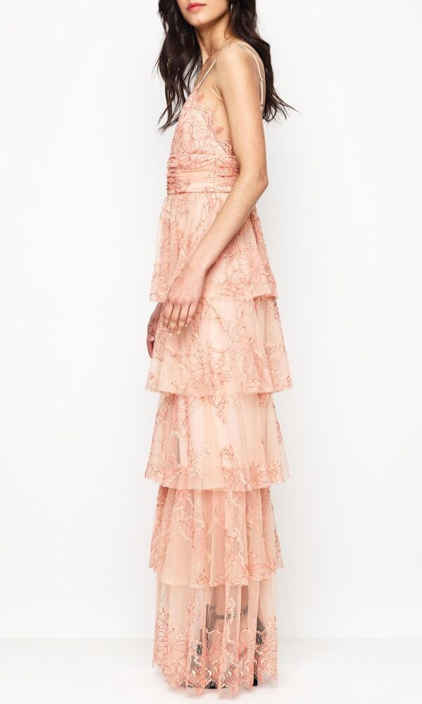 Clementine Gown Nude and Scarlet
