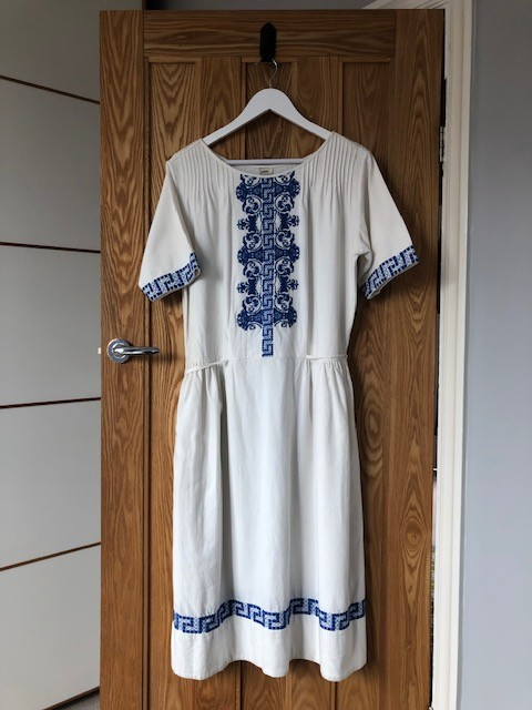 warm cotton dress with embroidery