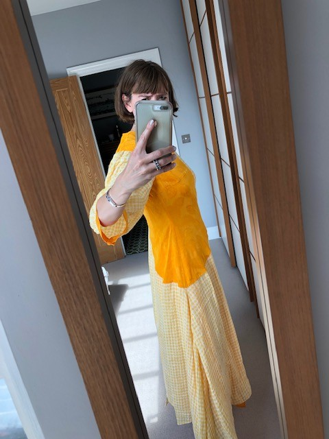 Rejina Pyo Dylan Dress in Voile Check Yellow and Jacquard Marigold
