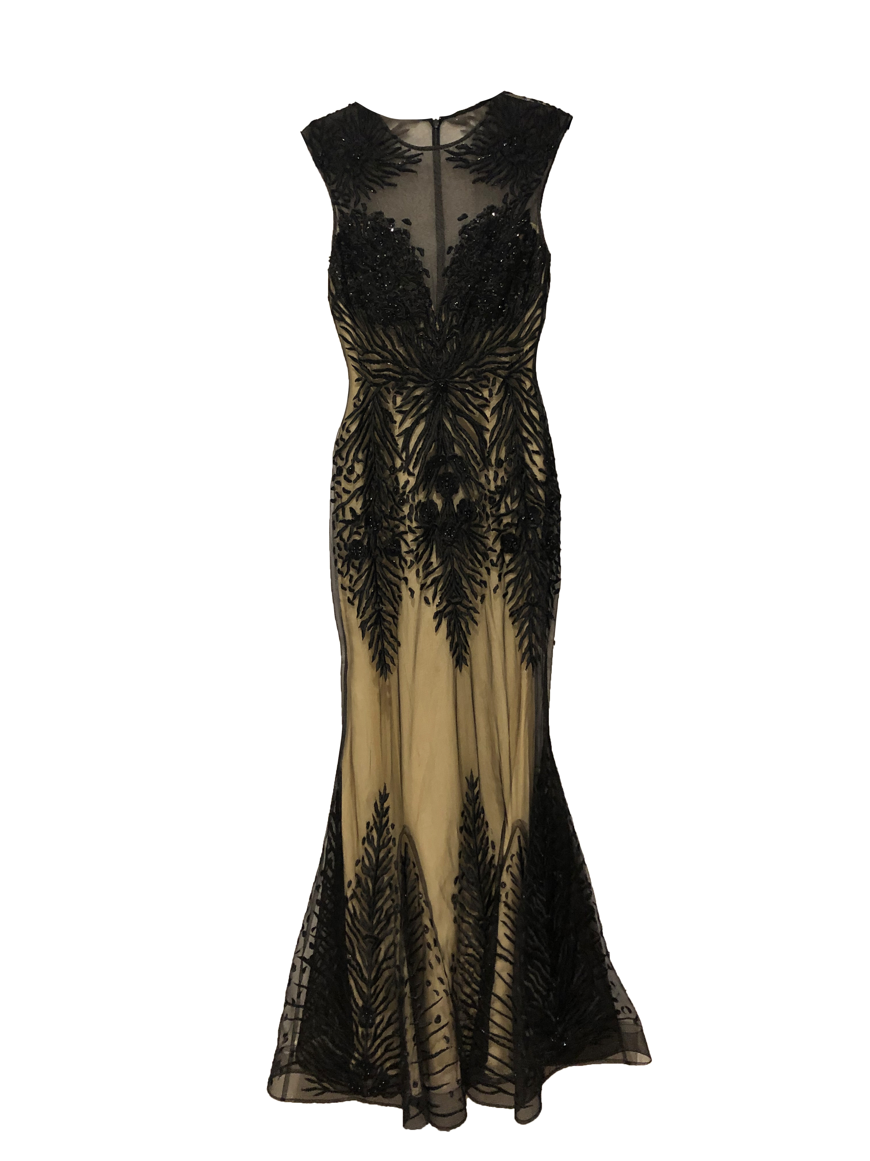 Cream and Black Sequin Gown