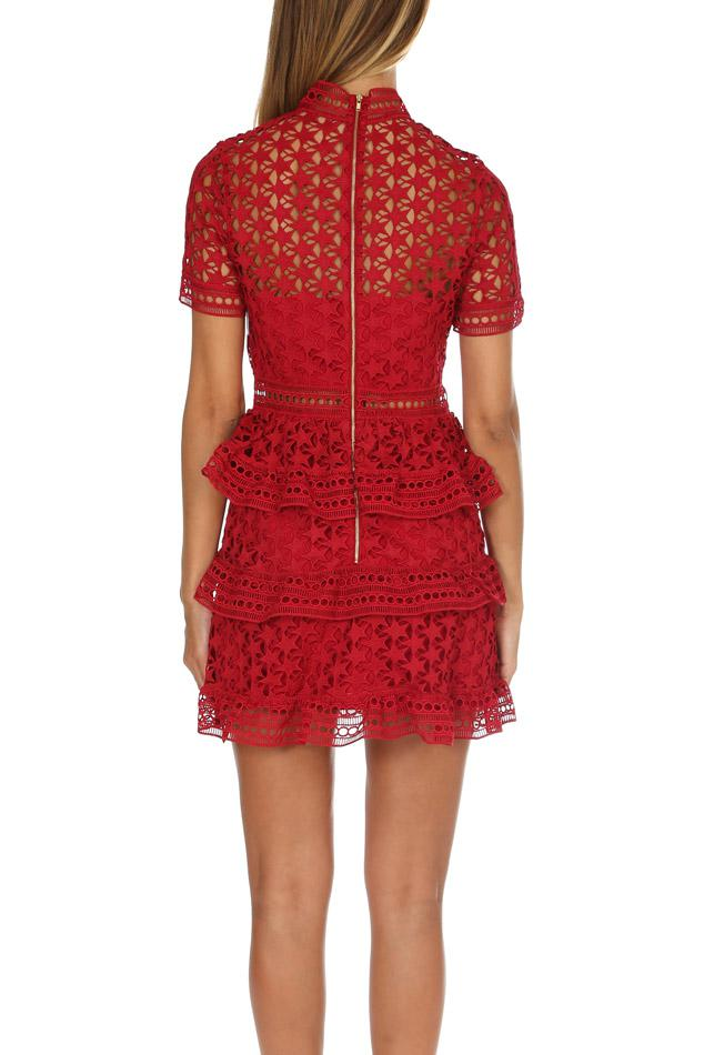 Red High Neck Star Lace Paneled Dress