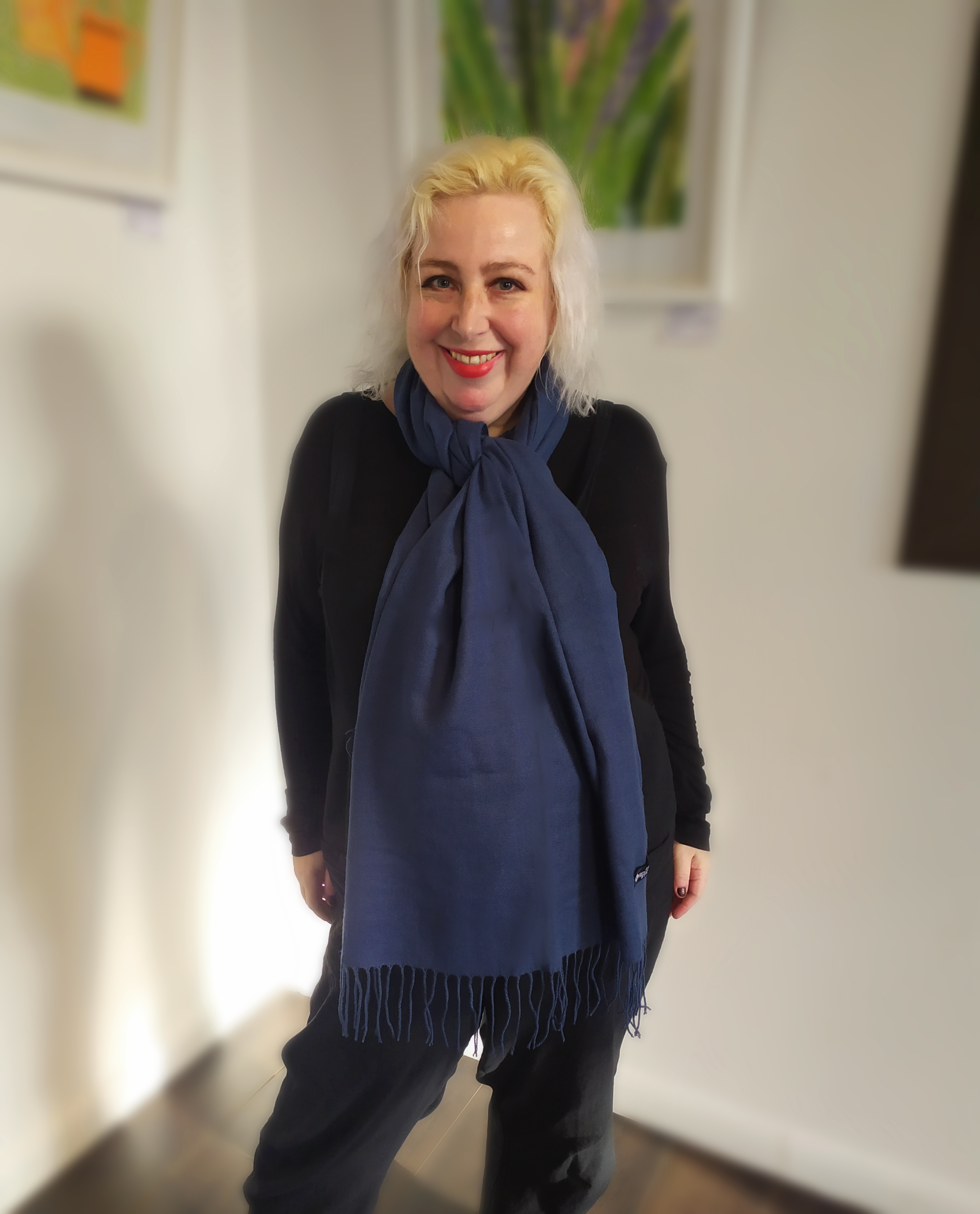Blue Hand Woven Cashmere Scarf